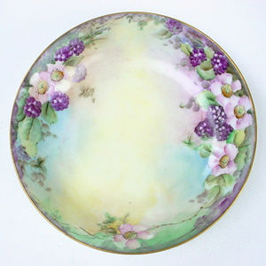 Antique Gutherz Blackberries Bowl Hand Painted
